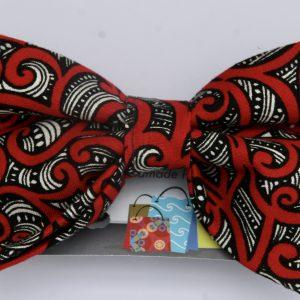 Dog Bow Tie-Red Maori Design