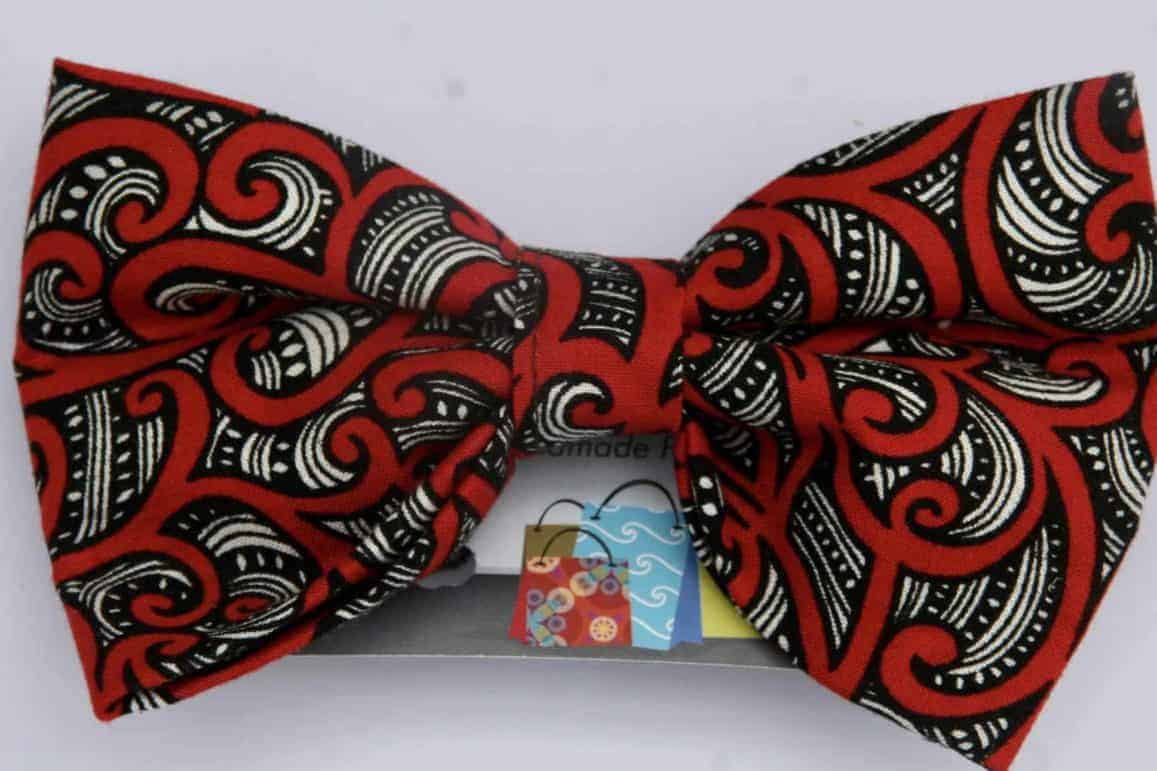 Dogg ie bow tie red maori design