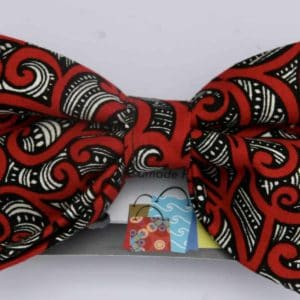 Dog Bow Tie-Red Maori Design