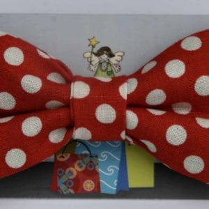 Dog Bow Tie-Red with White Spots
